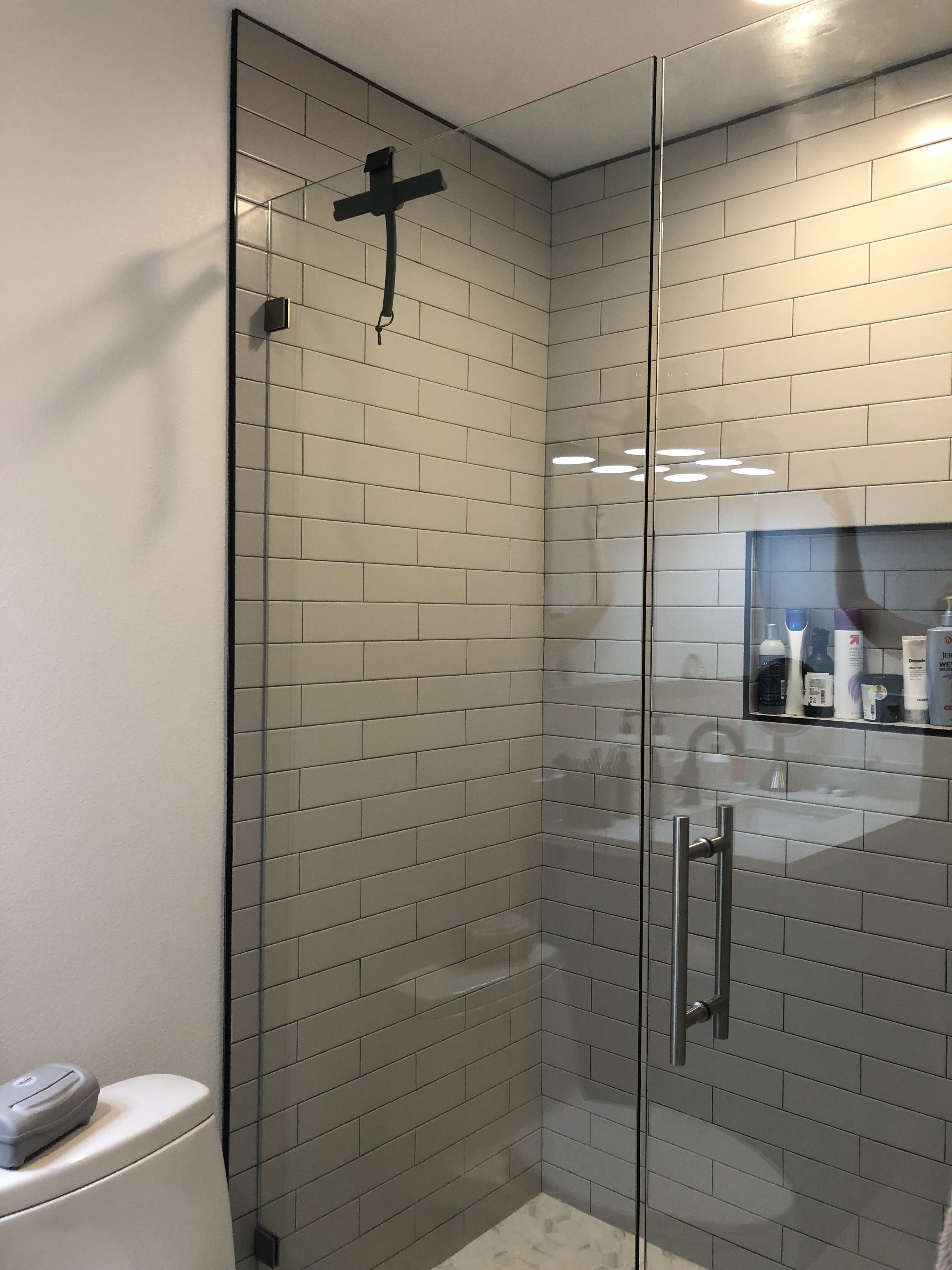 Grey Subway Tile Shower Walls, Glass Doors