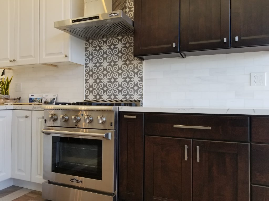 White and Espresso Cabinets Cement & Marble Tiles and Thor Appliances